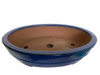 handgetöpferte, oval Schale , blau